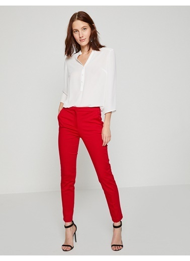 Koton Slim Fit Pantolon Kırmızı